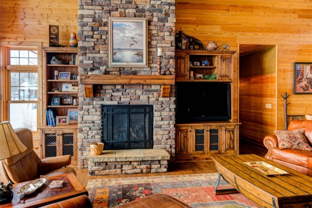 Great Room with stone fireplaceGreat Room with stone fireplace   Dovetail. Great Room With Fireplace. Home Design Ideas