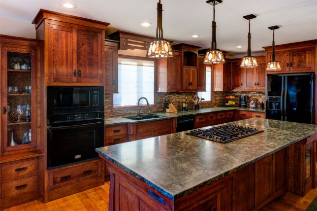 Kitchen with Kichler Stain Glass Pendants